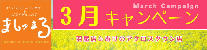 【ましゅまろ】3月キャンペーン情報!(羽屋店・あけのアクロスタウン店)