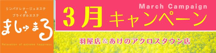 【リフレイト】3月キャンペーン情報!(羽屋店・あけのアクロスタウン店)